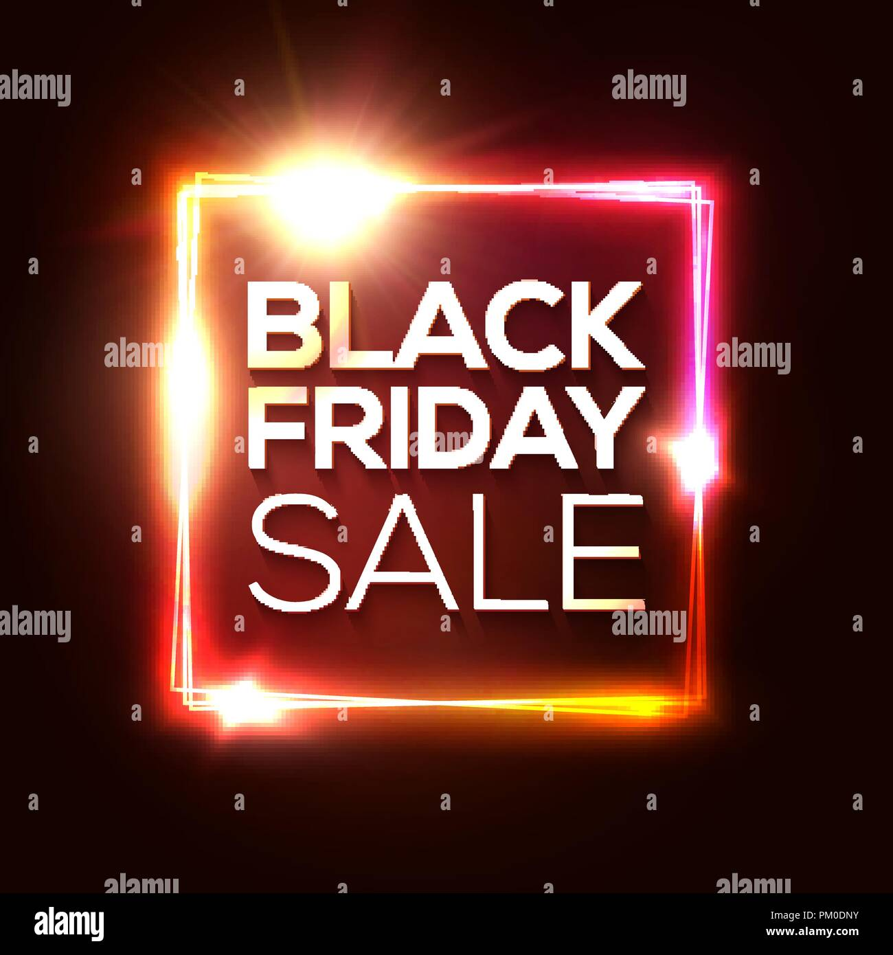 Black Friday Sale Banner Advertising Christmas Red Poster Glowing Neon Background Black Friday Design Template Electric Led Light Rectangle Frame November Discount Laser Logo Vector Illustration Stock Vector Image Art