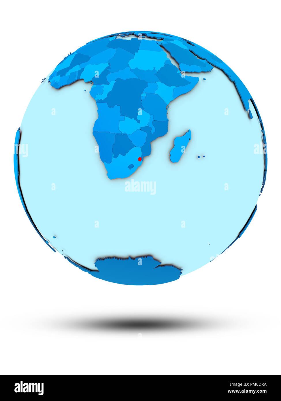 Swaziland on blue globe isolated on white background. 3D illustration. Stock Photo