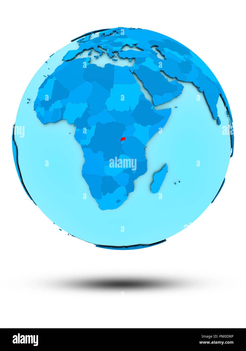 Rwanda on blue globe isolated on white background. 3D illustration. - Stock Image
