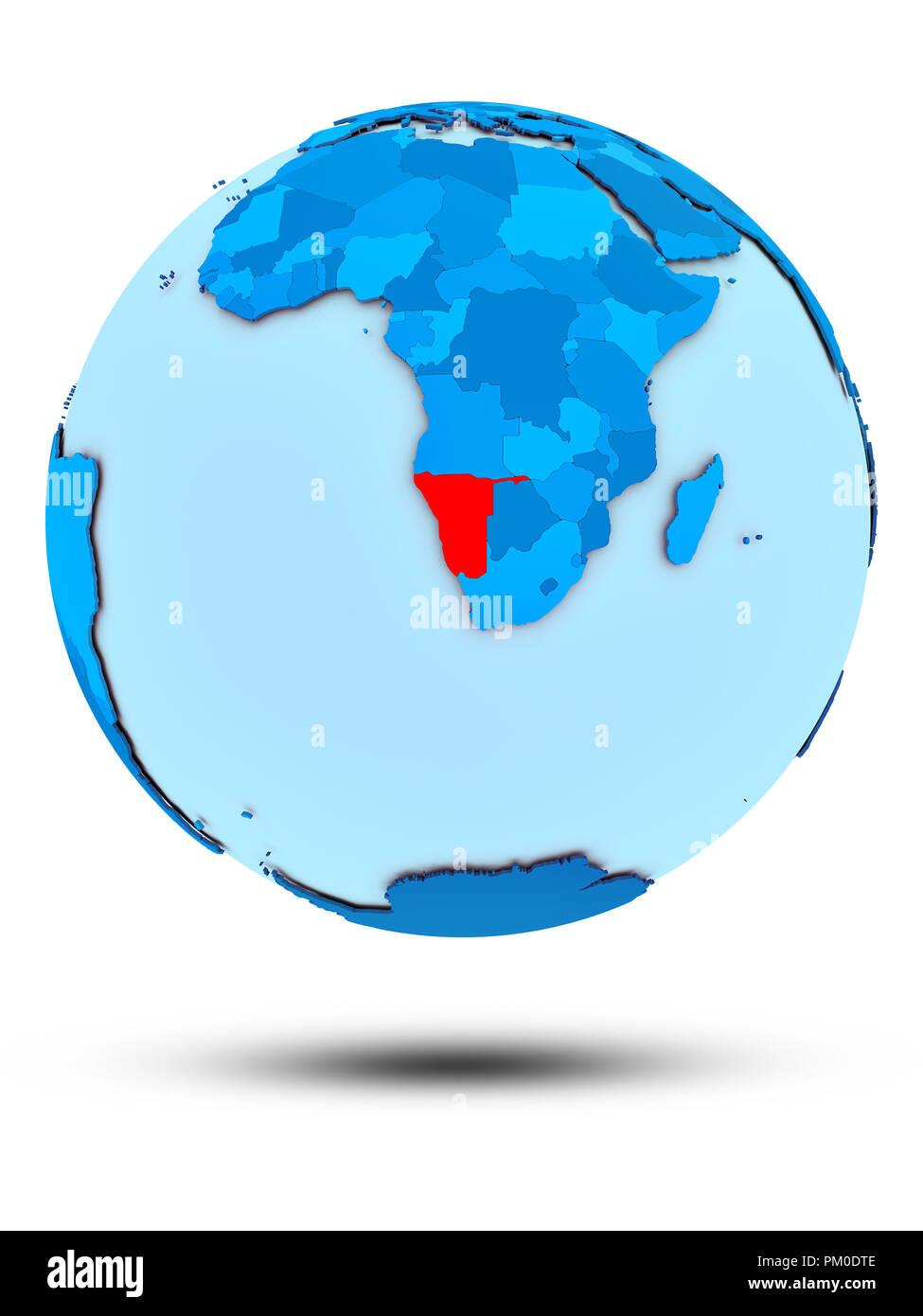 Namibia on blue globe isolated on white background. 3D illustration. - Stock Image