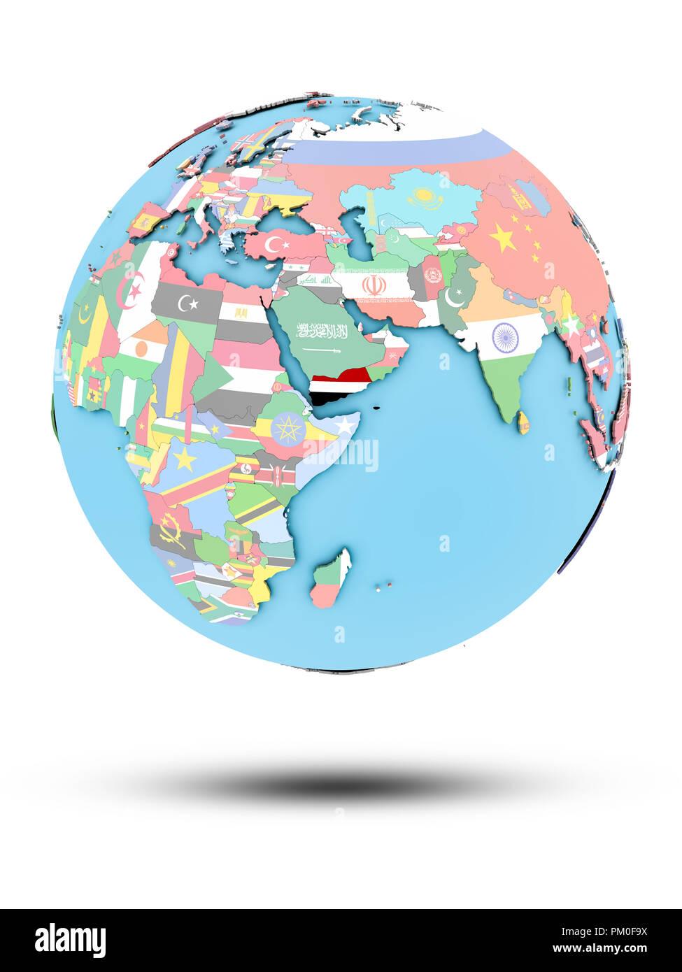 Yemen on political globe with national flags isolated on white background. 3D illustration. - Stock Image