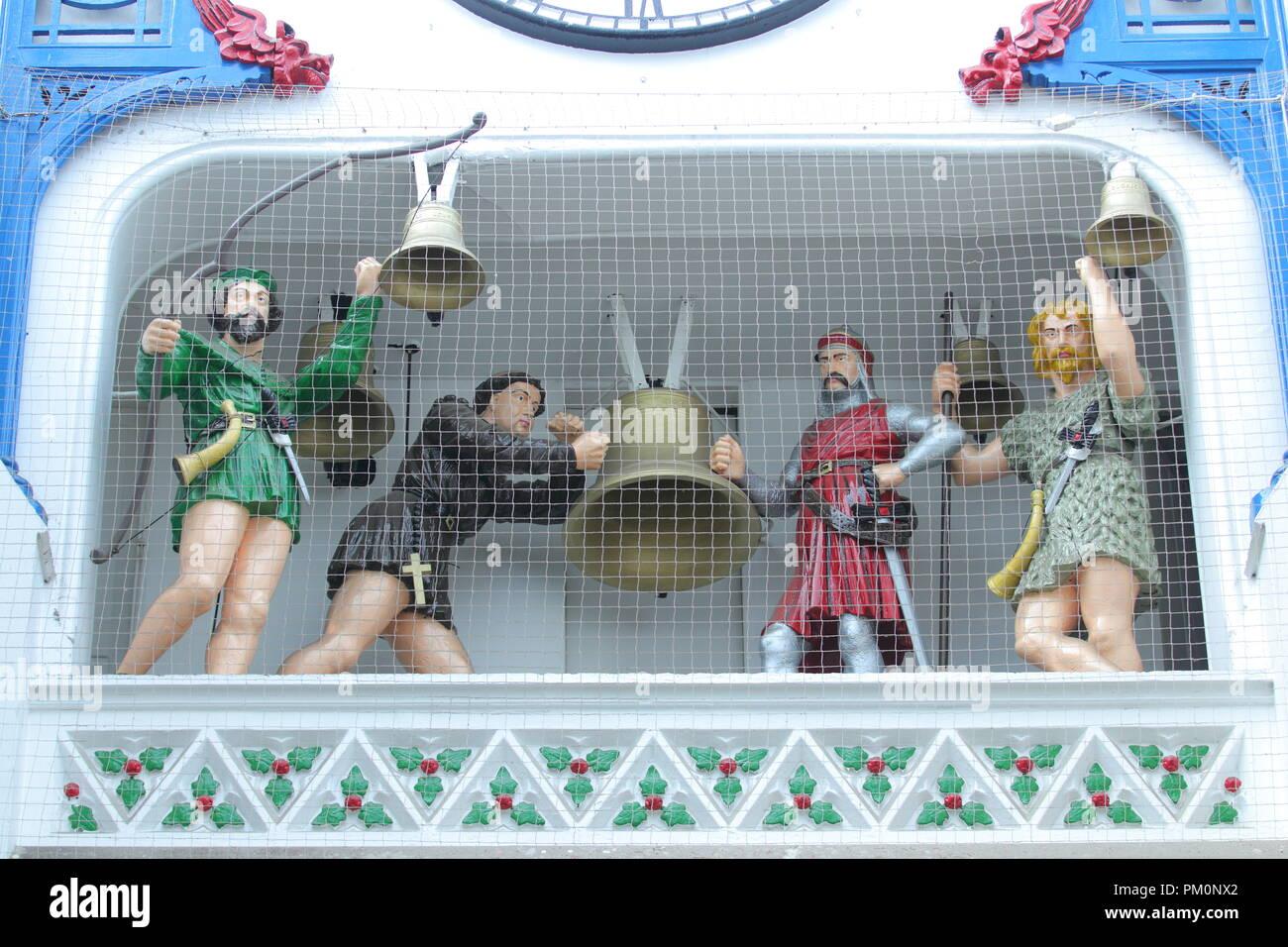 The Ivanhoe Clock in Thorntons Arcade in Leeds. - Stock Image