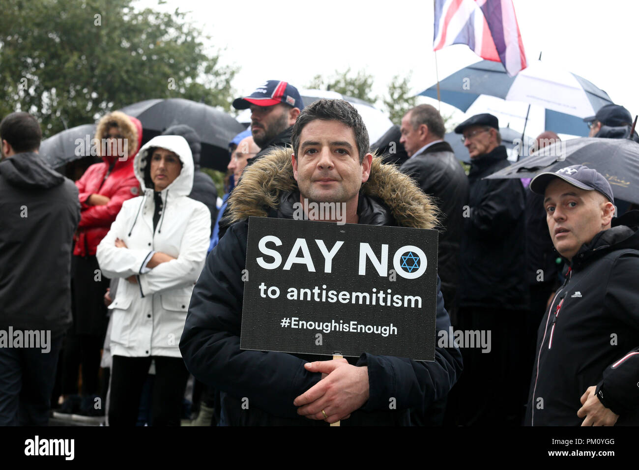 Manchester, UK. 16th Sep, 2018. Rally attendee stood with a placard which reads 'Say No to anti Semitism' , Cathedral Gardens,  Manchester, 16th September, 2018 (C)Barbara Cook/Alamy Live News Credit: Barbara Cook/Alamy Live News - Stock Image
