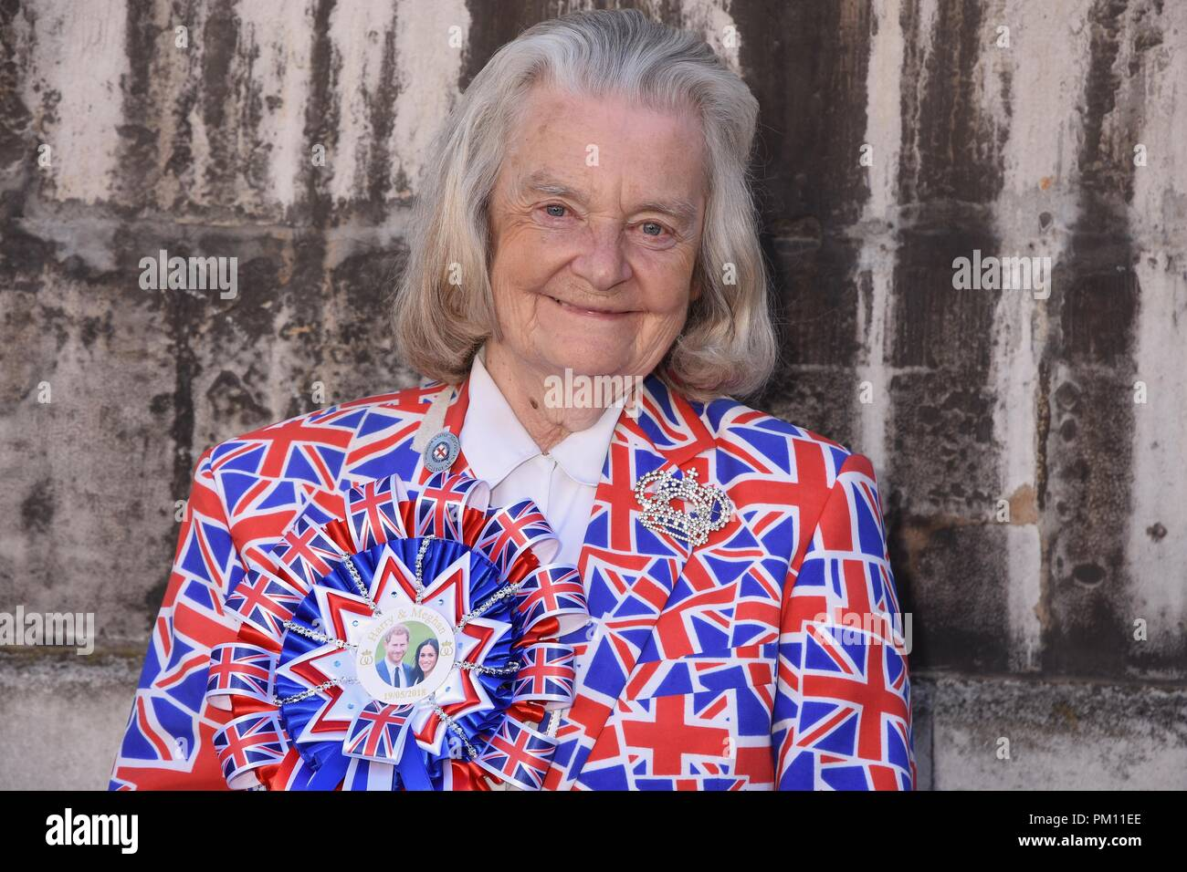 London, UK. 16th Sep, 2018. Margaret Tyler,Royal Fan attended the 20th anniversary of the annual Pearly Kings and Queens Harvest Festival,Guildhall Yard,London.UK Credit: michael melia/Alamy Live News - Stock Image