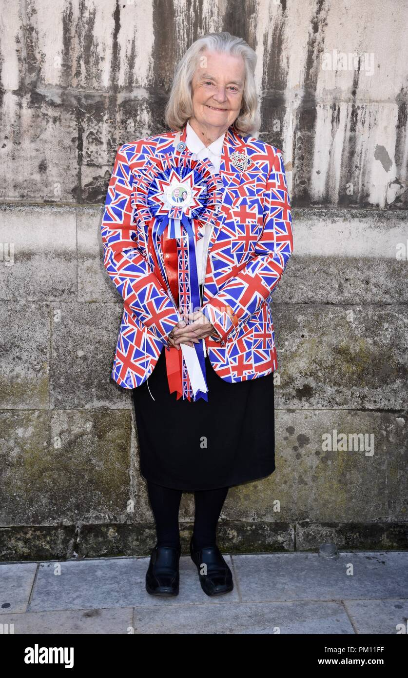 London, UK. 16th Sep, 2018. Margeret Tyler,Royal fan attended the 20th anniversary of the annual Pearly Kings and Queens Harvest Festival,Guildhall Yard,London.UK Credit: michael melia/Alamy Live News - Stock Image