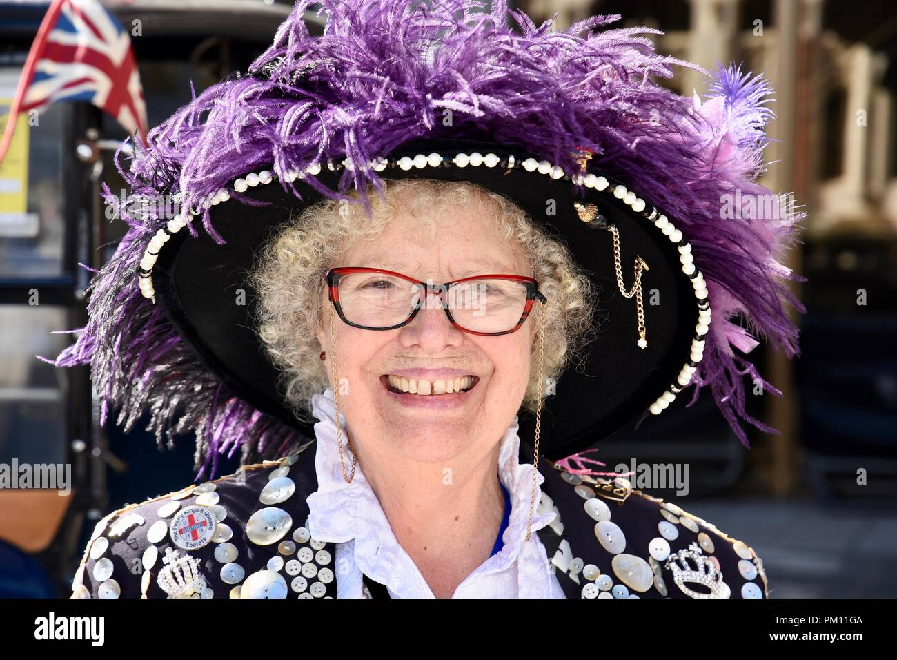 London, UK. 16th Sep, 2018. Pearly Queen,The 20th anniversary of the annual Pearly Kings and Queens Harvest Festival,Guildhall Yard,London.UK Credit: michael melia/Alamy Live News - Stock Image