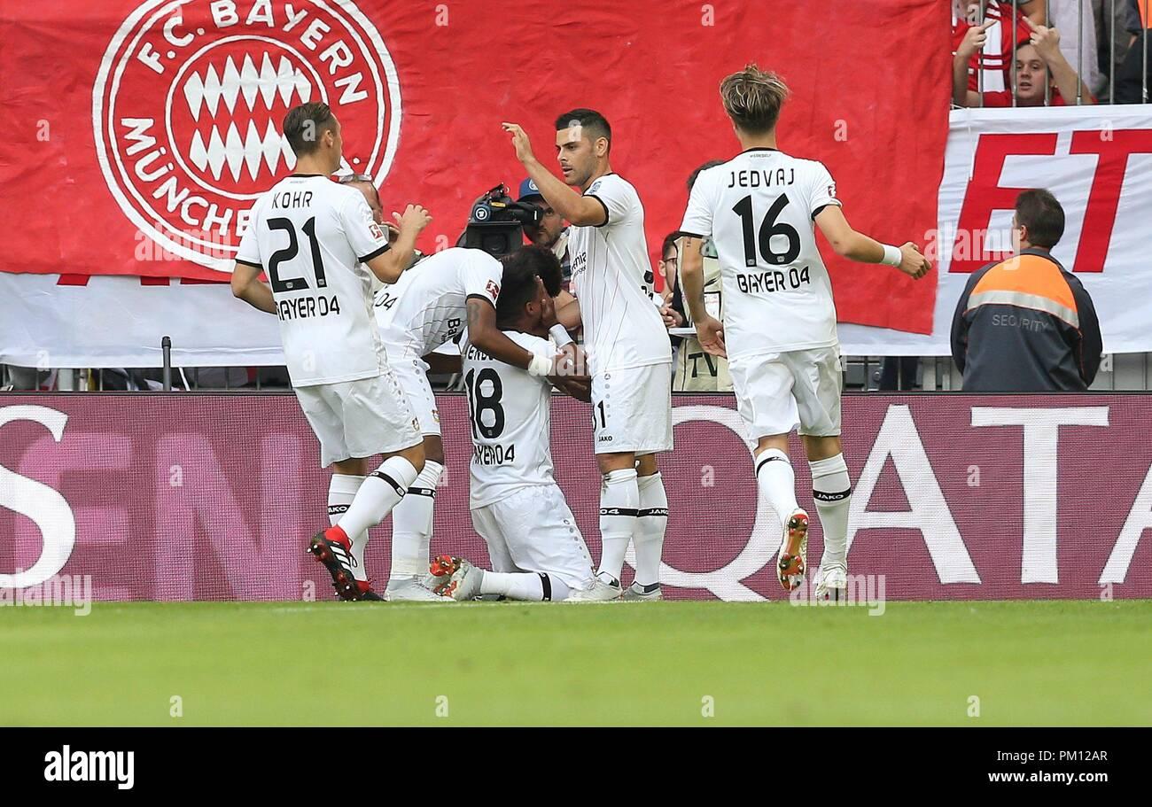 firo: 15.09.2018 Fuvuball, Football: 1.Bundesliga FC Bayern Munich - Bayer 04 Leverkusen, Wendell, Bayer, Leverkusen, jubilation   usage worldwide - Stock Image