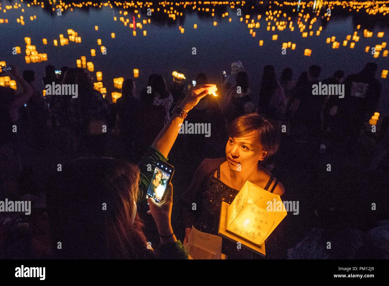 Los Angeles, USA. 15th Sep, 2018. People attend Water Lantern Festival in Los Angeles, the United States, Sept. 15, 2018. Credit: Qian Weizhong/Xinhua/Alamy Live News Stock Photo