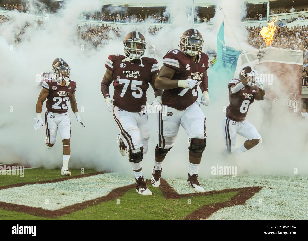 Starkville, MS, USA. 15th Sep, 2018. Mississippi State University Bulldogs football team members enter the field before the NCAA Division I match-up at Davis Wade Stadium in Starkville, MS. Mississippi State defeated Louisiana, 56-10. Kevin Langley/CSM/Alamy Live News - Stock Image