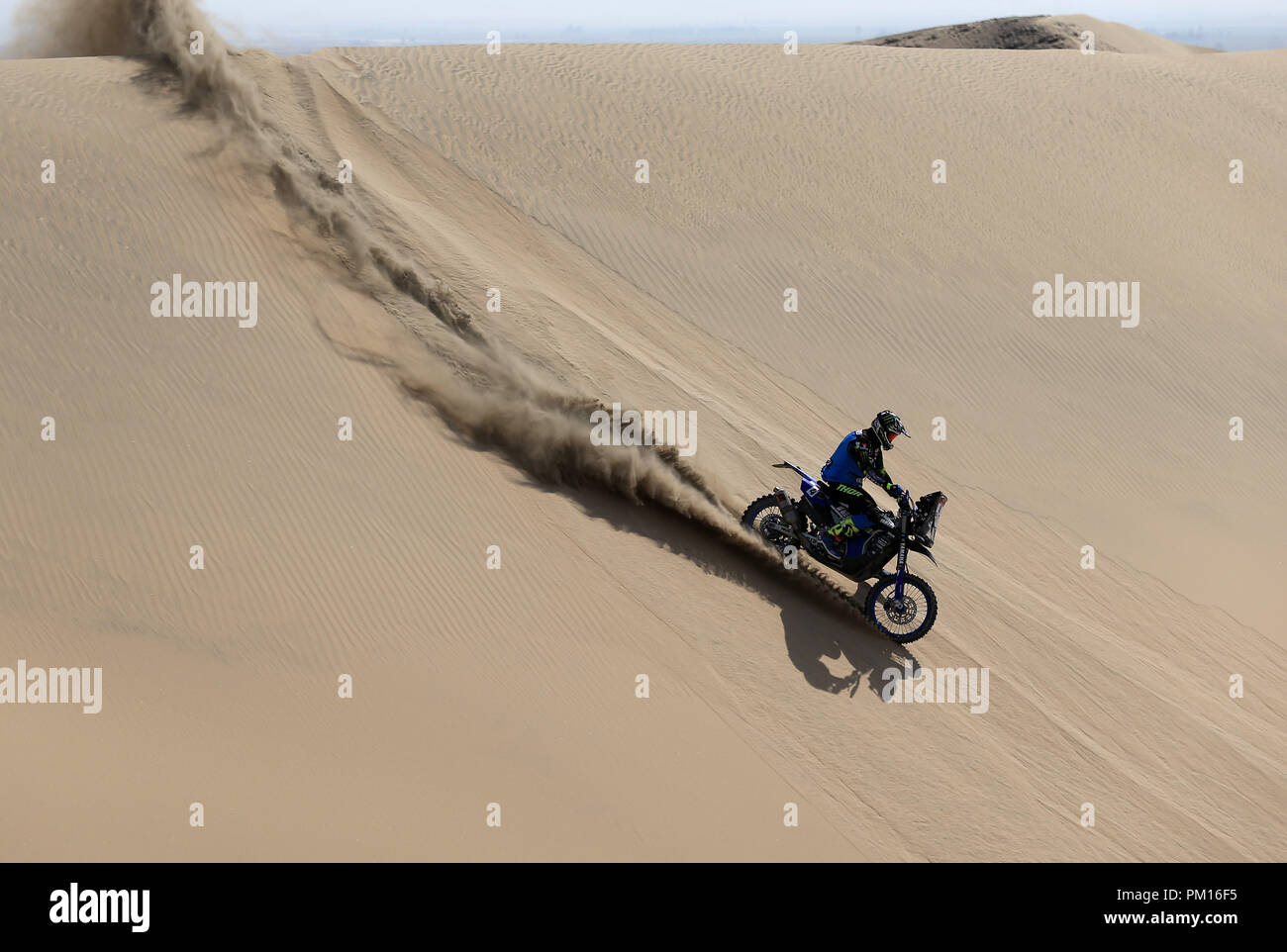 Ica, Peru. 16th Sep, 2018. French Adrien Van Beveren rides his Yamaha bike during the third stage of the Inca Challenge, at the desert in Ica, Peru, 16 September 2018. EFE/Ernesto Arias Credit: EFE News Agency/Alamy Live News - Stock Image