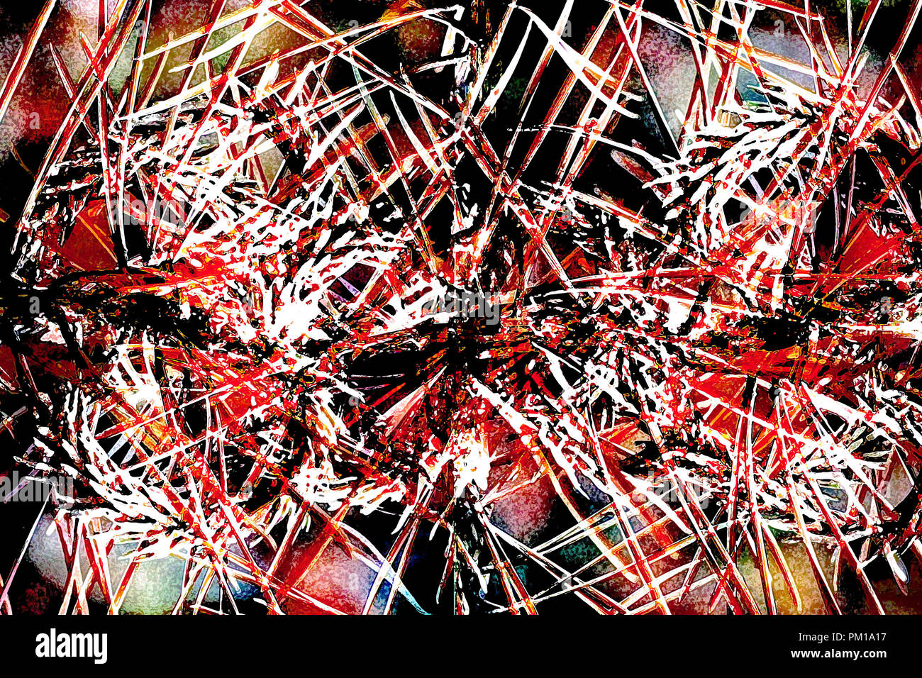 art abstract graphic aggressive grunge background in red color - Stock Image