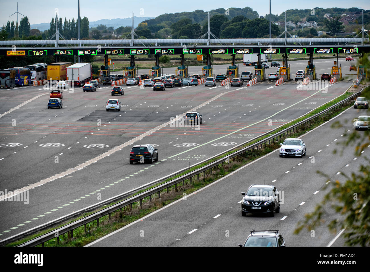 The M4 motorway west-bound toll plaza on the Second Severn Crossing renamed the Prince of Wales Bridge. Tolls are due to be scrapped in December 2018. - Stock Image