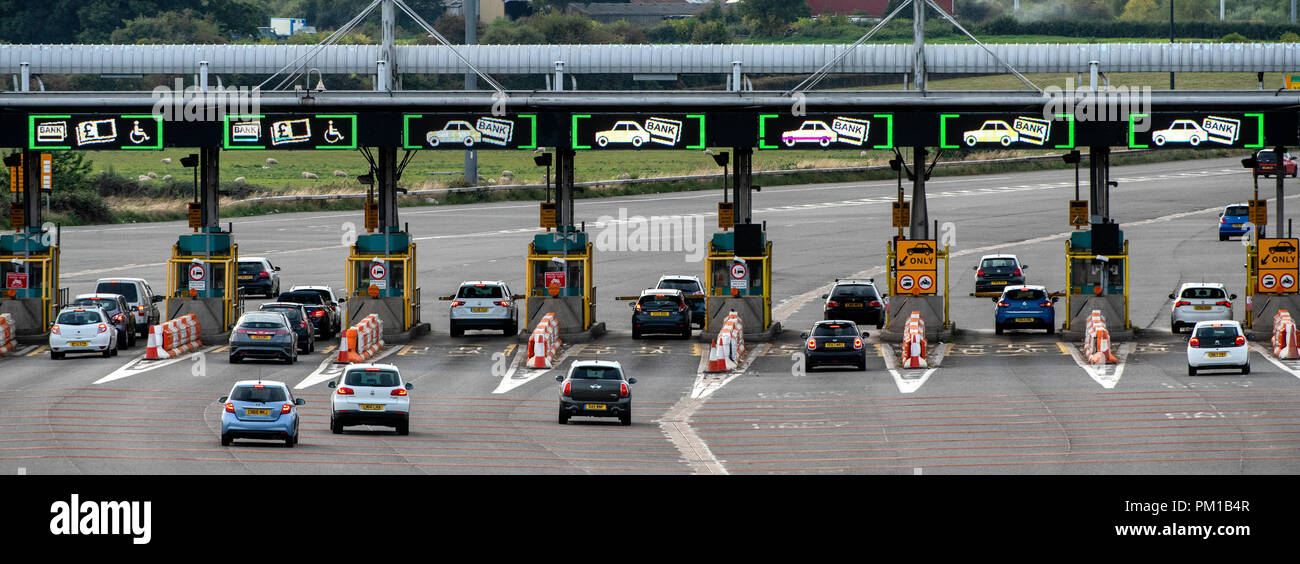 The M4 motorway west-bound toll plaza on the Second Severn Crossing renamed the Prince of Wales Bridge. Tolls are due to be scrapped in December 2018. Stock Photo