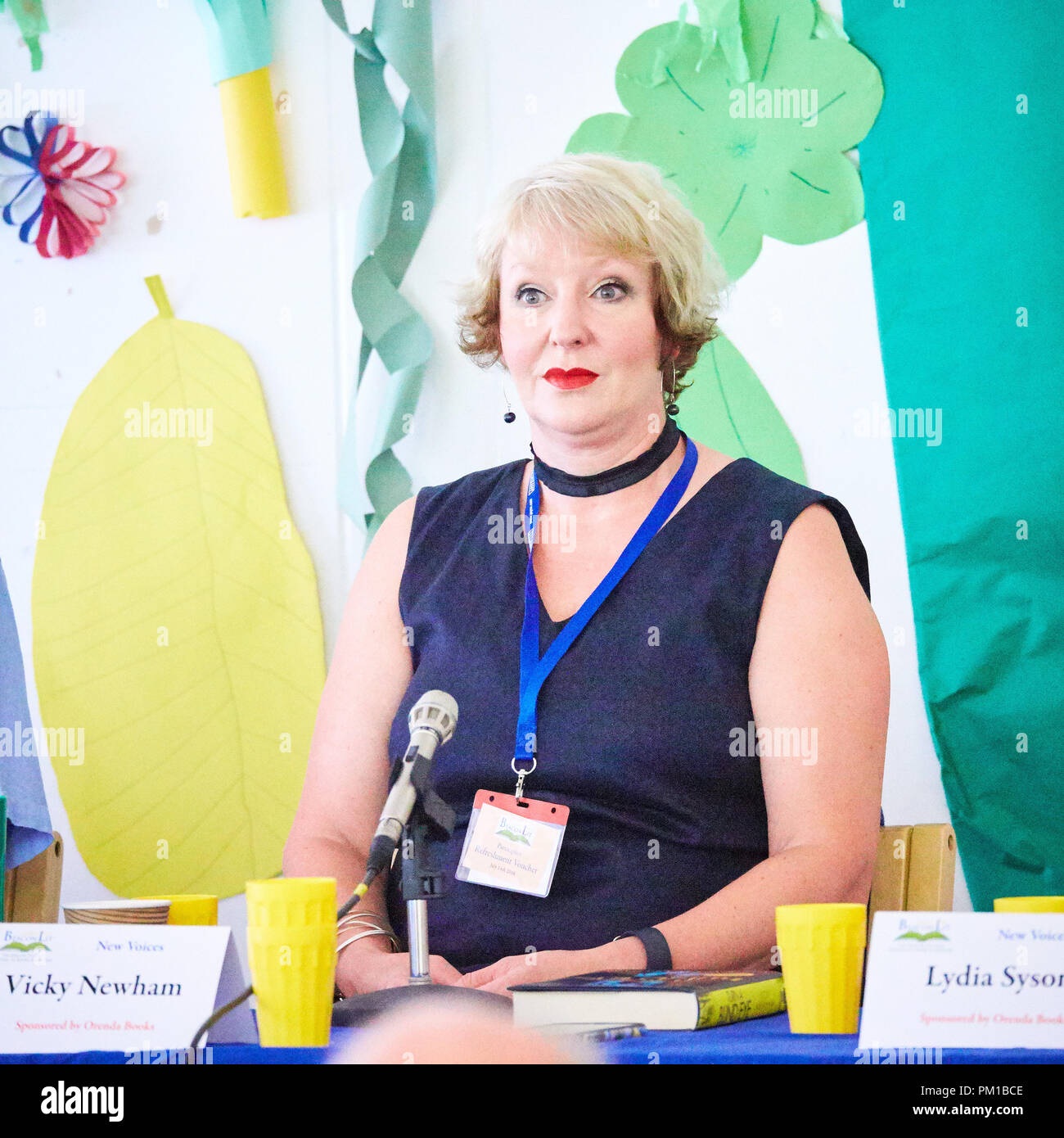Author Vicky Newham on the New Voices panel at Beaconlit book festival in Ivinghoe - Stock Image