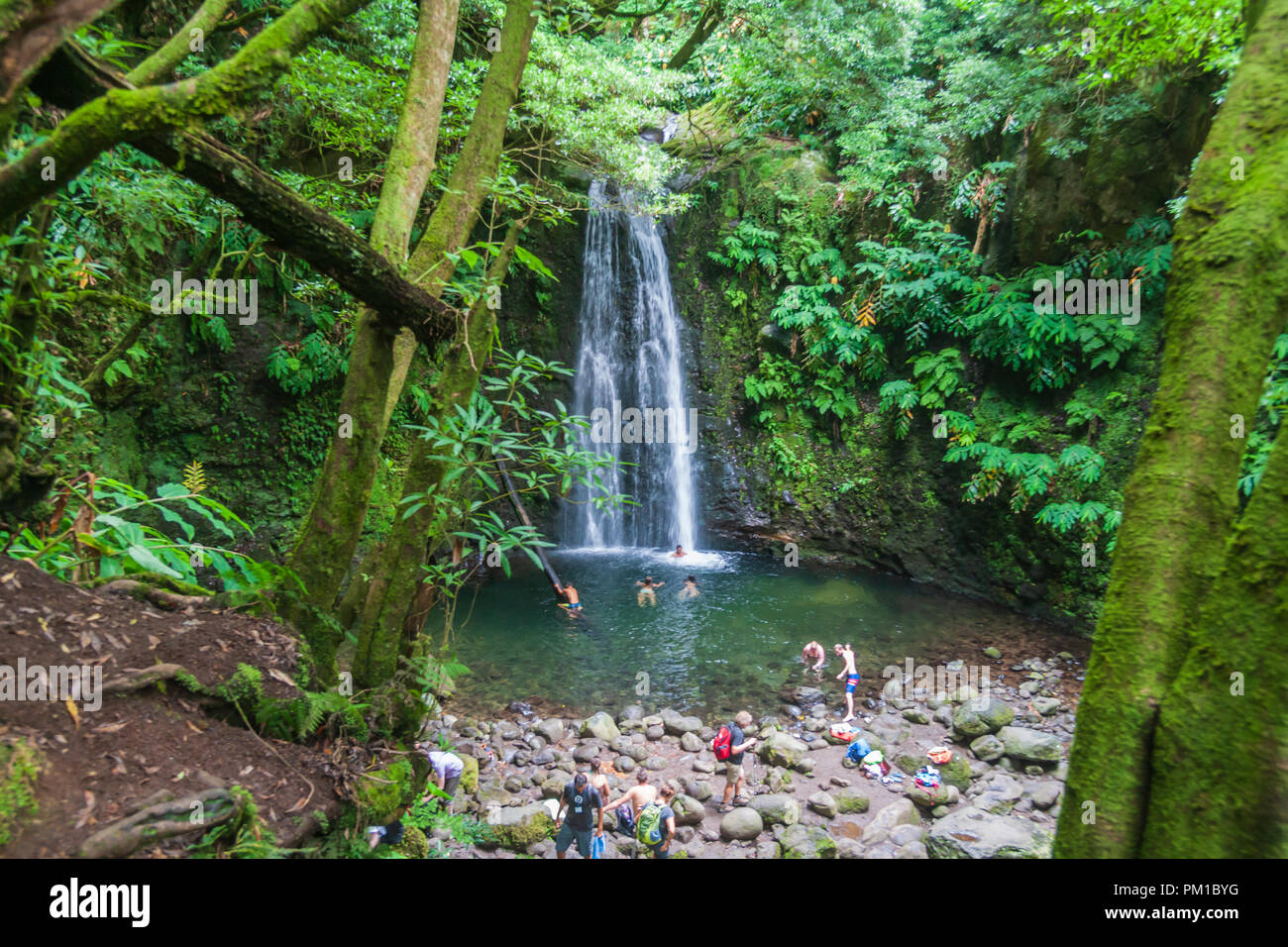 Located in Faial da Terra and accessible either by the pedestrian path of Sanguinho or by the Salto do Prego waterfall sao miguel azores - Stock Image