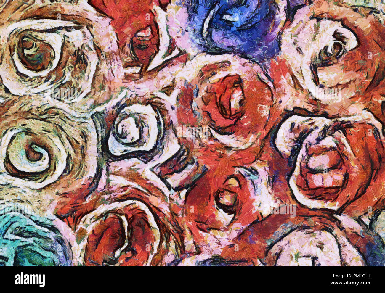 art abstract pencil drawing pattern background in red, green and blue colors in the shape of flowers - Stock Image