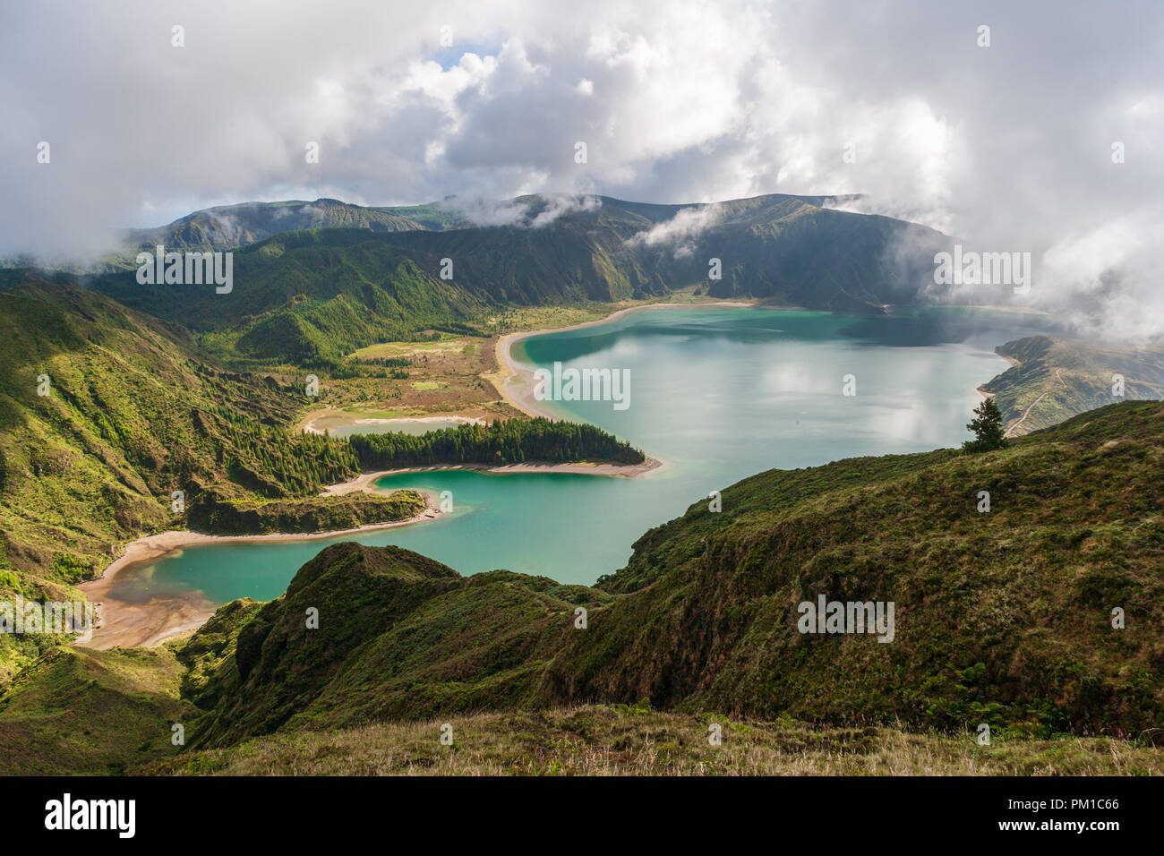 view of lake fogo sao miguel azores - Stock Image