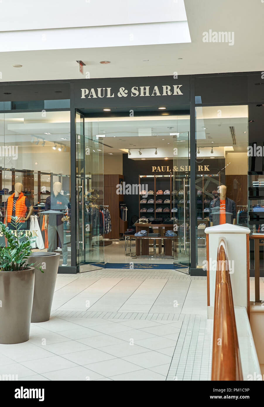 AVENTURA, USA - AUGUST 23, 2018: famous boutique in Aventura Mall. Paul and Shark is an Italian clothing brand founded by Paolo Dini Stock Photo