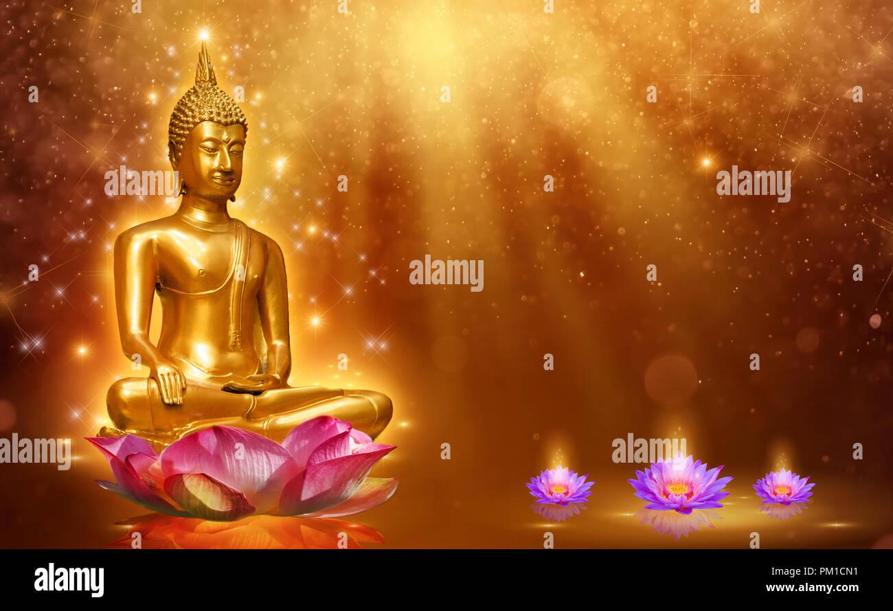 Buddha statue water lotus buddha standing on lotus flower on orange buddha statue water lotus buddha standing on lotus flower on orange background izmirmasajfo