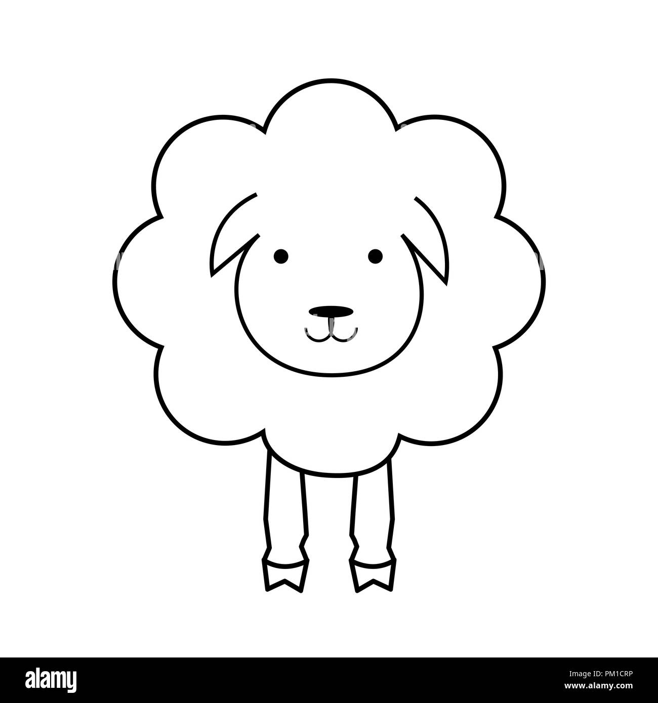 Cartoon sheep animal. Line lamb, outline icon. Wool textile sign, black and white. Fabric icon - Stock Vector