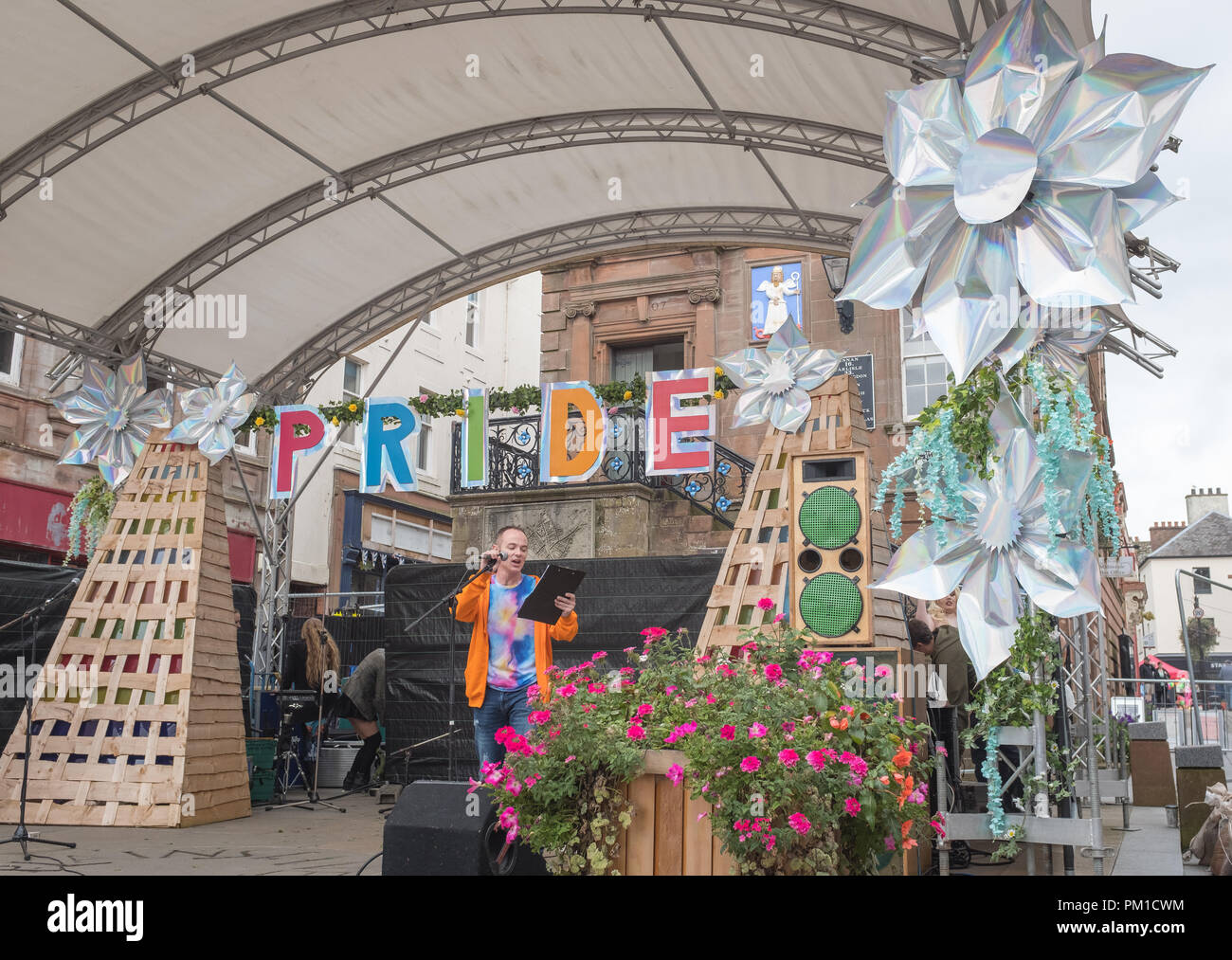 Opening remarks at a Pride event held in Dumfries town centre on the 15th September 2018. Stock Photo