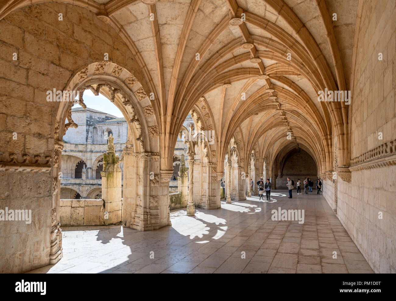 Upper Cloisters of the Jeronimos Monastery ( Mosteiro dos Jerónimos ), Belem district, Lisbon, Portugal - Stock Image