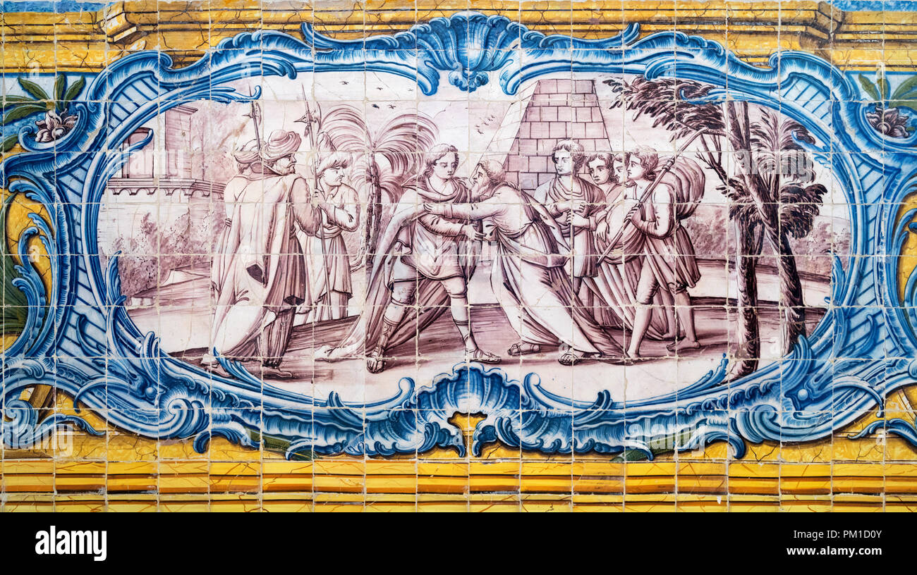 Tiles on the wall of the 16th century Refectory at the Jeronimos Monastery ( Mosteiro dos Jerónimos ), Belem district, Lisbon, Portugal - Stock Image