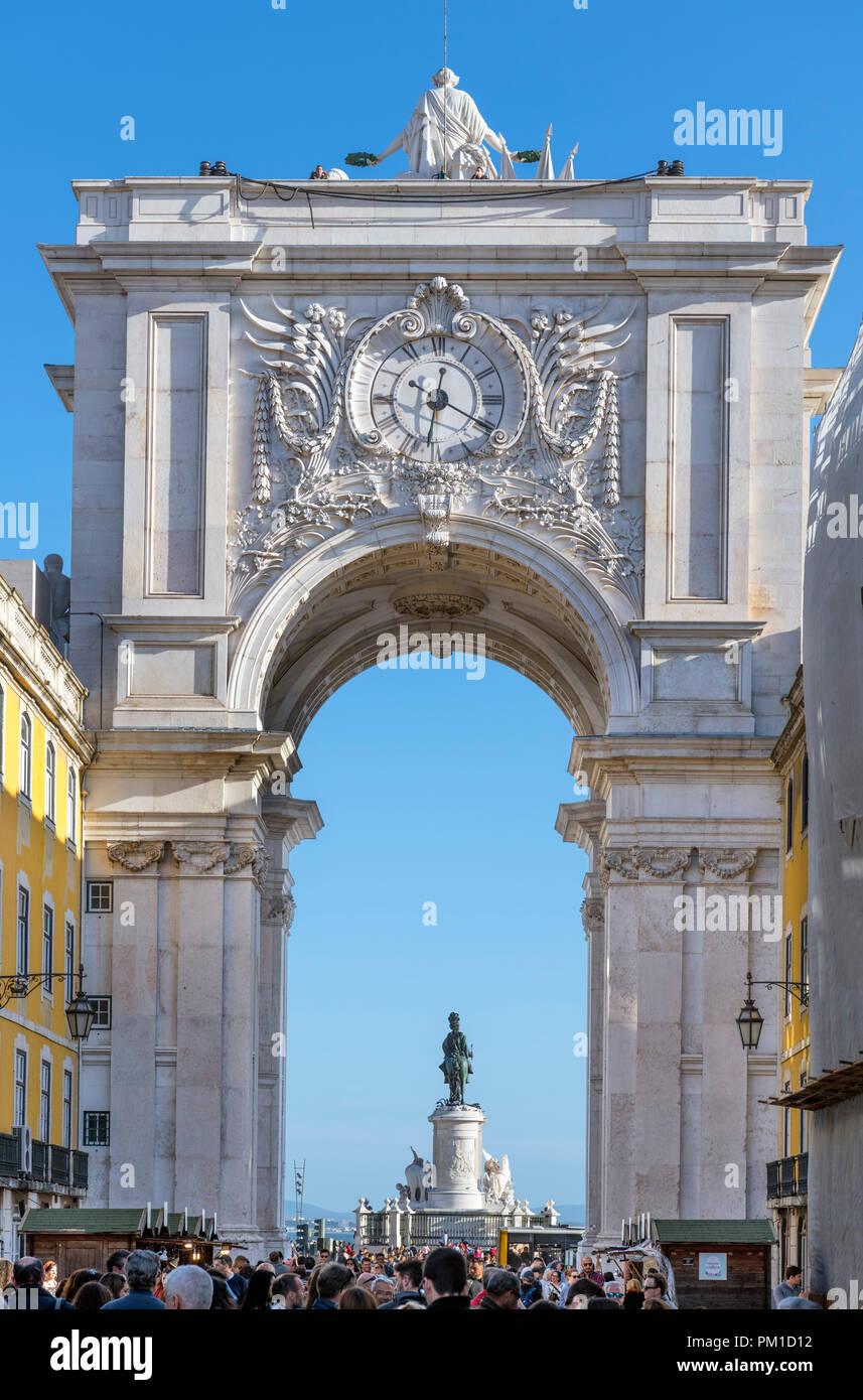 Rua Augusta Arch (Arco da Rua Augusta) looking towards Praca do Comercio, Lisbon, Portugal - Stock Image