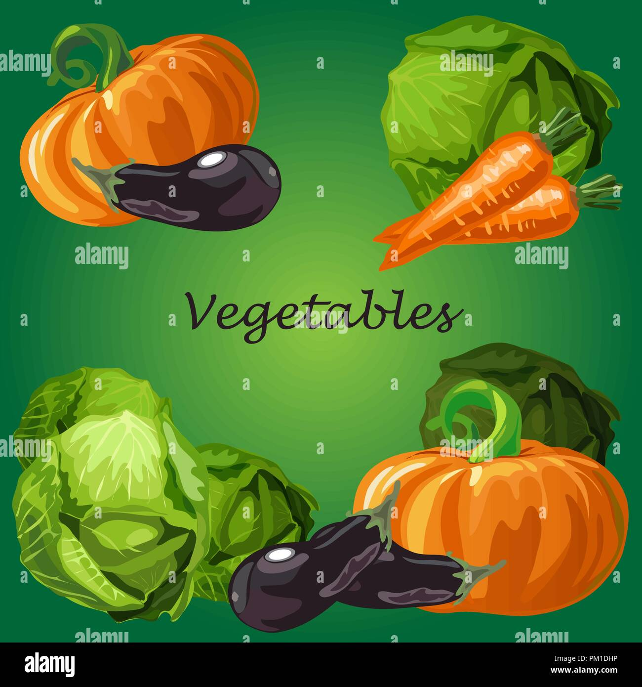 Poster with a picture of ripe and healthy vegetables isolated on green background. Ripe pumpkin, eggplant and cabbage. Organic food healthy diet and fitness menu. Vector cartoon close-up illustration. Stock Vector