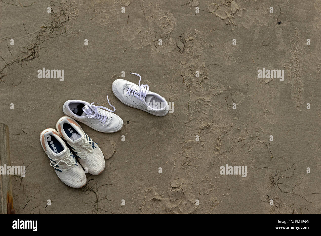 shoes at the beach, St. Peter-Ording, Schleswig-Holstein, Germany - Stock Image