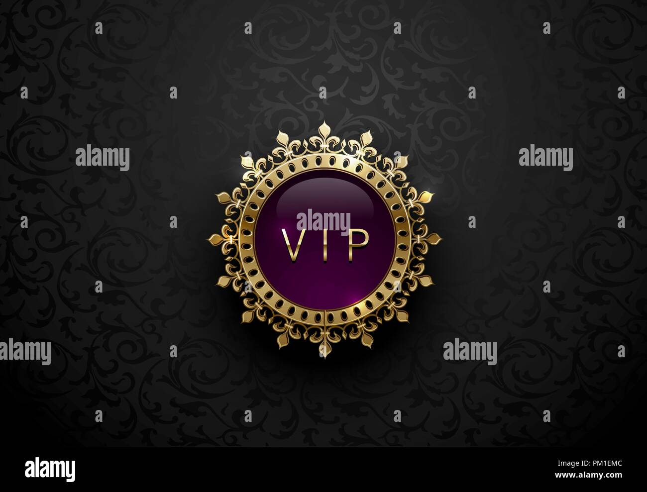 Vip Purple Label With Round Golden Ring Frame Crown On Black Floral Background Dark Glossy Royal Premium Template Vector Luxury Illustration