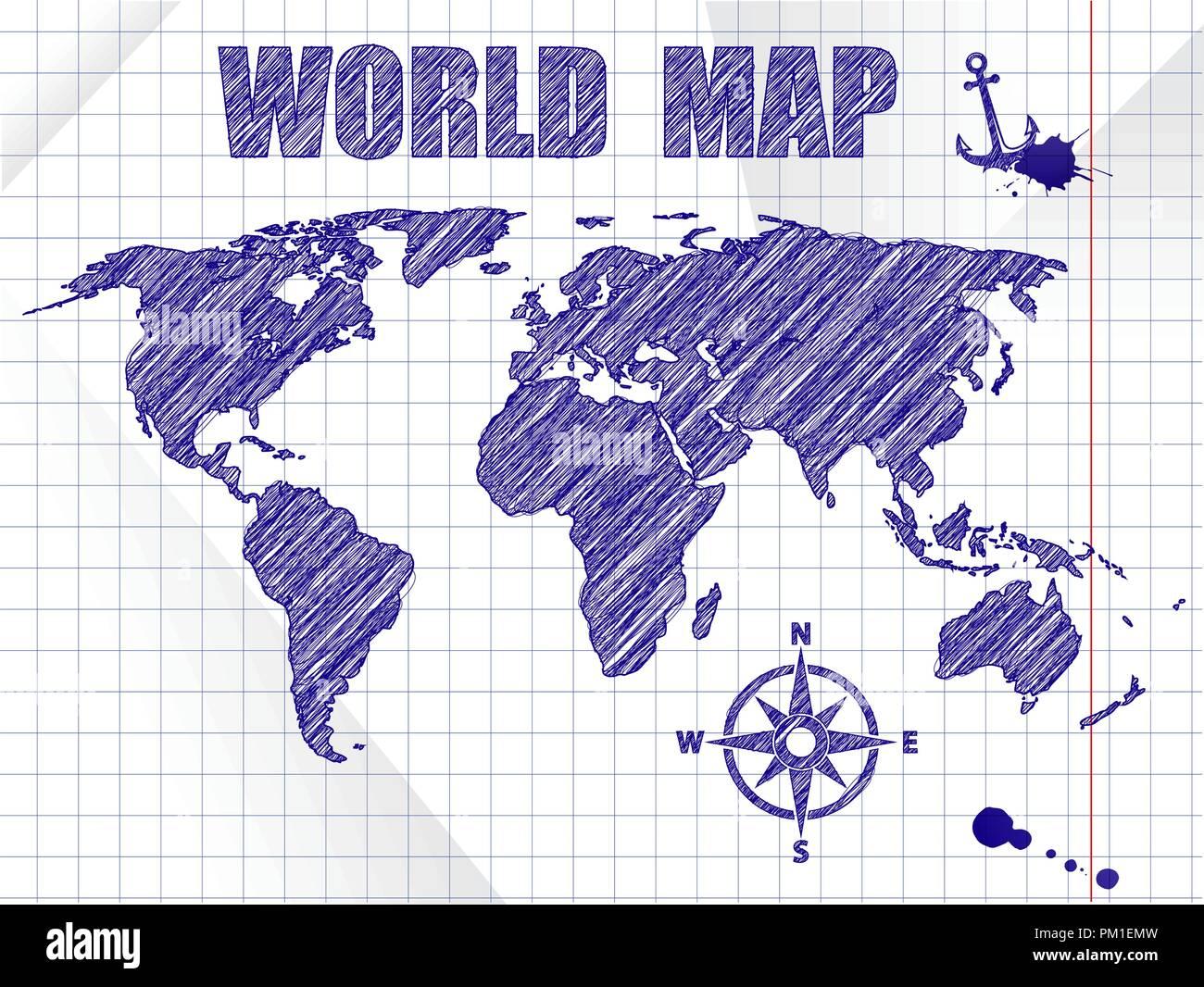 Blue ink sketched navigation world map on school notebook sheet background. - Stock Image