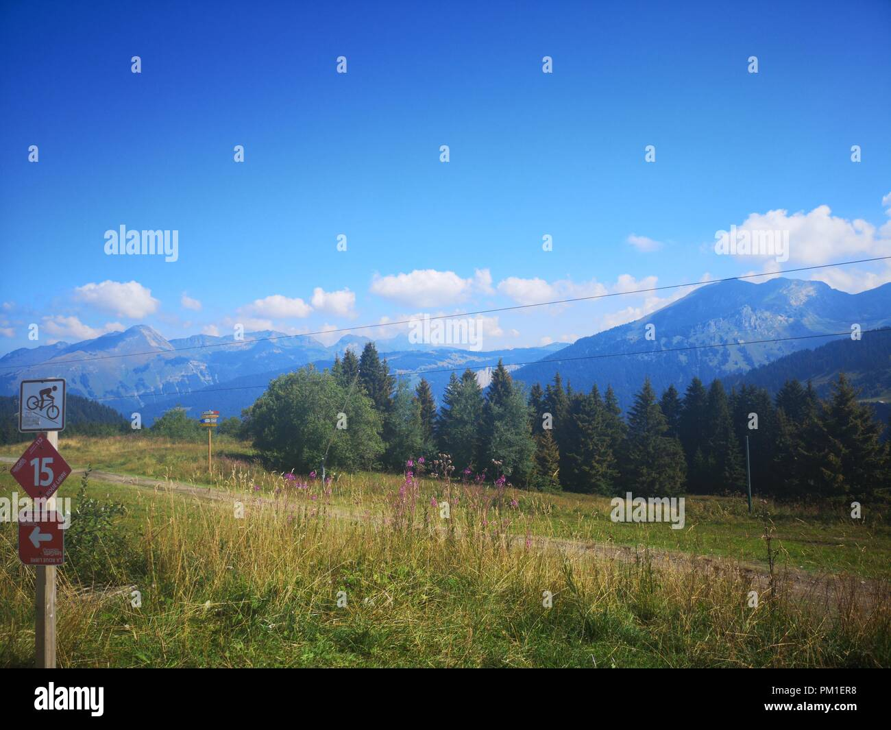 Spectacular Views In The French Alps - Stock Image