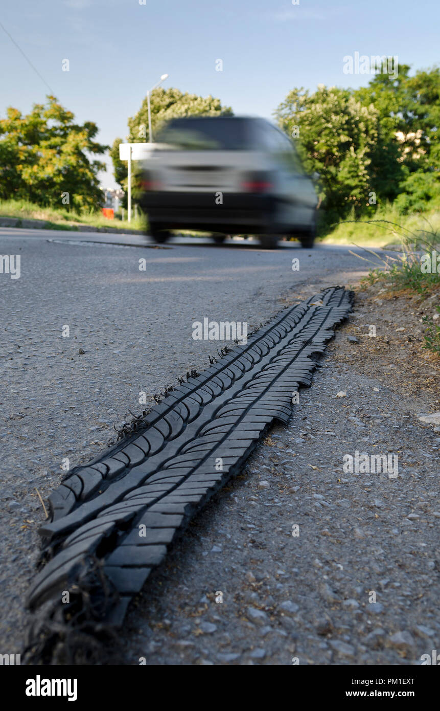 Car accident-puncture on the street - Stock Image
