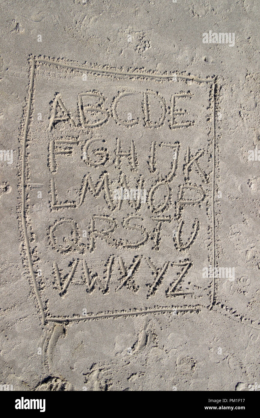 letters written in the sand, St. Peter-Ording, Schleswig-Holstein, Germany - Stock Image