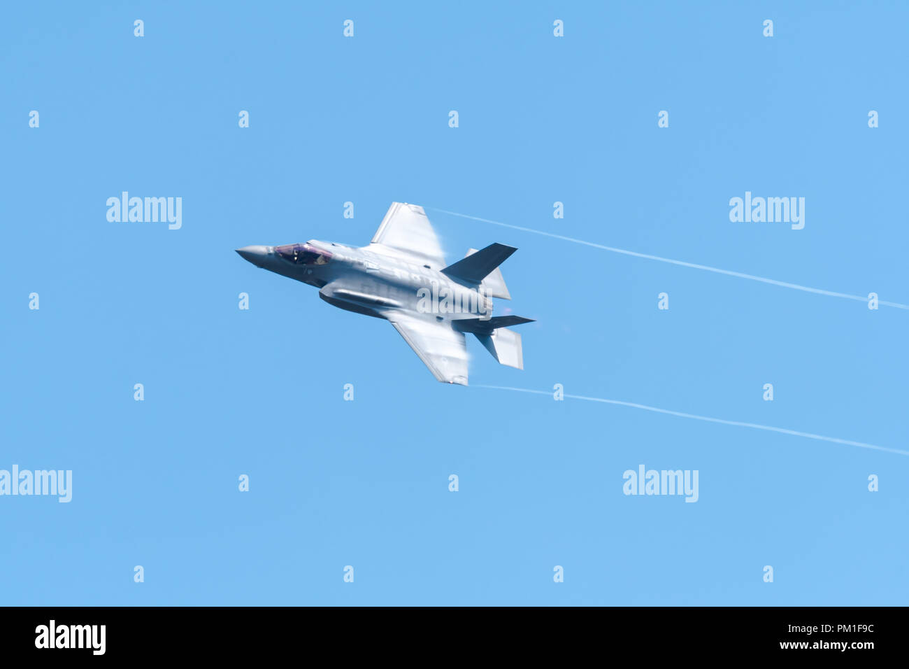 FAIRFORD, UK, JULY 13 2018: A photograph documenting a Lockheed Martin F-35 Lightning II stealth multirole fighter aircraft from the USAF displaying a - Stock Image