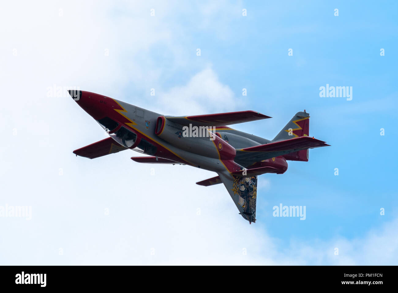 FAIRFORD, UK, JULY 13 2018: A photograph documenting athe Patrulla Aguila from the Spanish Air Force displaying their aerobatic C-101 Aviojet aircraft - Stock Image