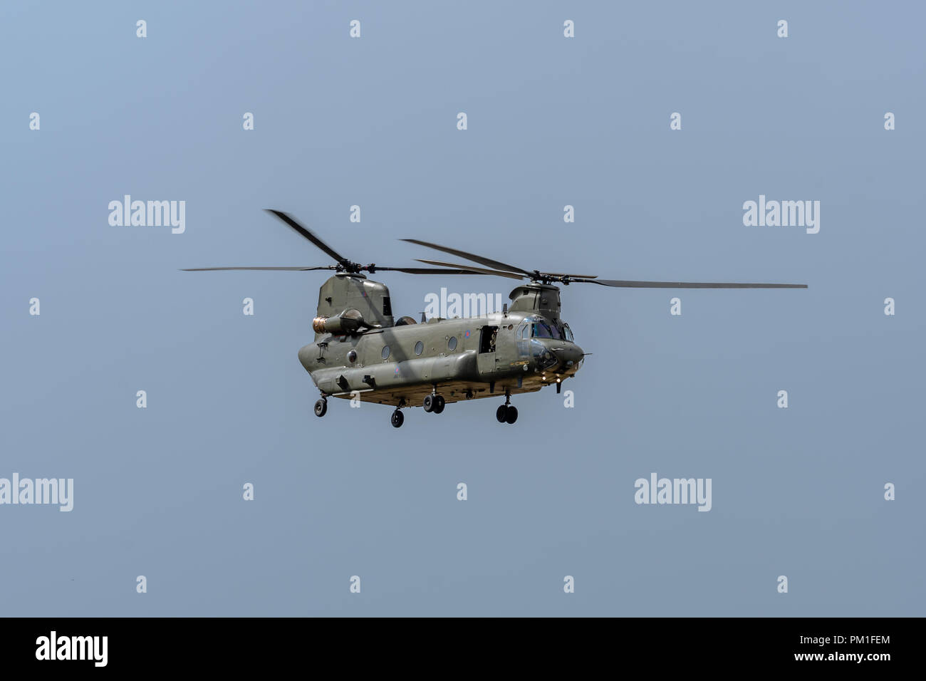FAIRFORD, UK, JULY 13 2018: A photograph documenting the Royal Air Force displaying a Boeing Chinook twin rotor helicopter aircraft at RAF Fairford Stock Photo