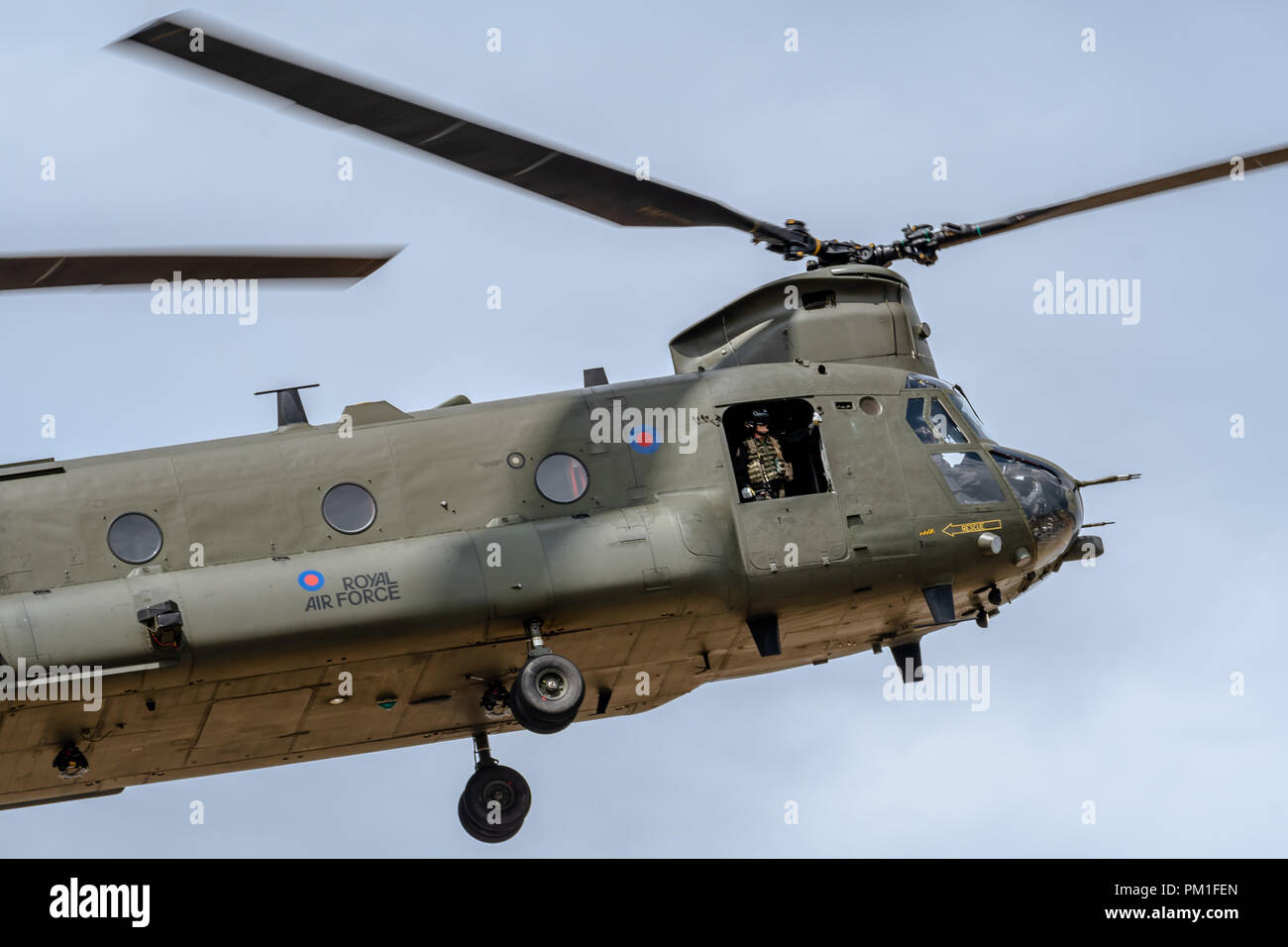 FAIRFORD, UK, JULY 13 2018: A photograph documenting the Royal Air Force displaying a Boeing Chinook twin rotor helicopter aircraft at RAF Fairford - Stock Image