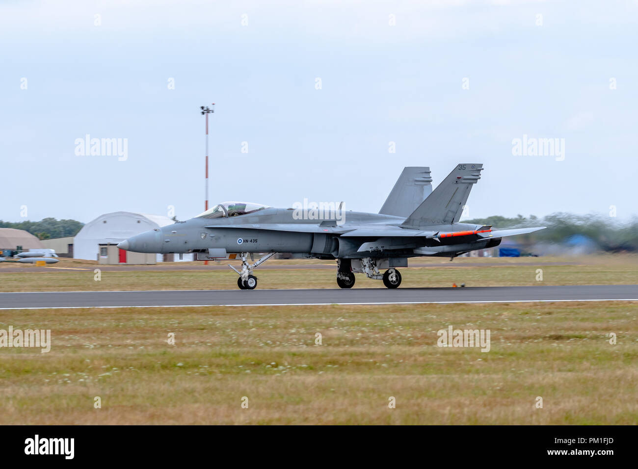 FAIRFORD, UK, JULY 13 2018: A photograph documenting the Finnish Air Force displaying a McDonnell Douglas F-18C Hornet jet fighter and ground attack a - Stock Image