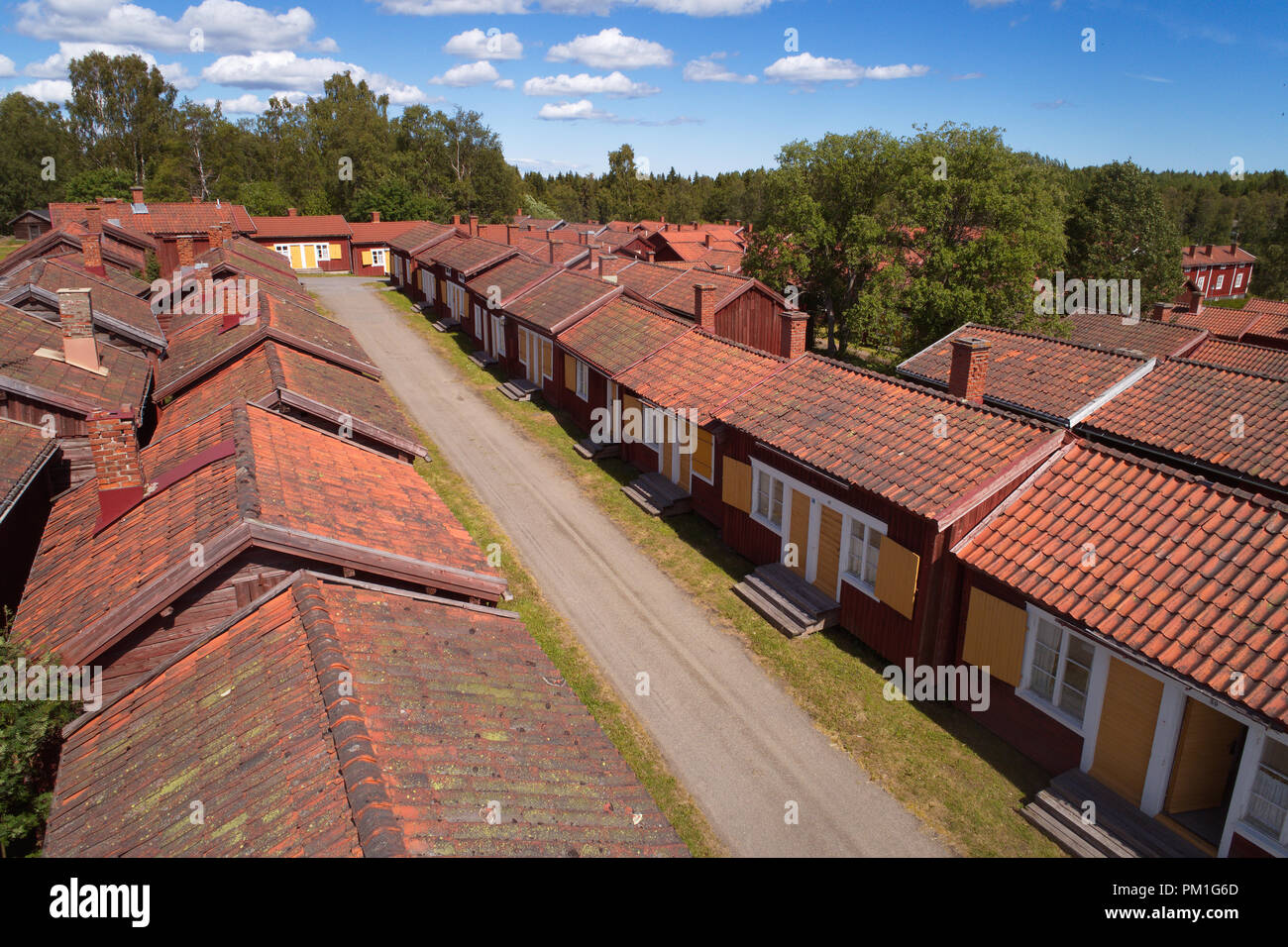 Lovanger, Sweden - June 21, 2018: High angel view of huts in the Lovanger church town. - Stock Image