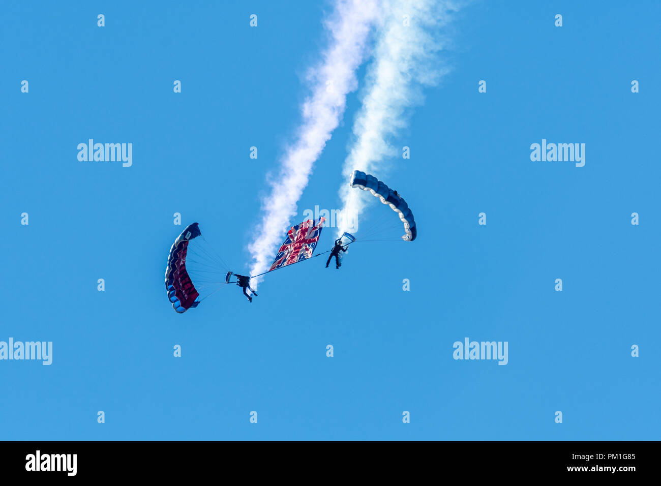 SOUTHPORT, UK JULY 8 2018:  A photograph documenting the British Army Flying Tigers Freefall Parachute Display Team at Southport Airshow - Stock Image