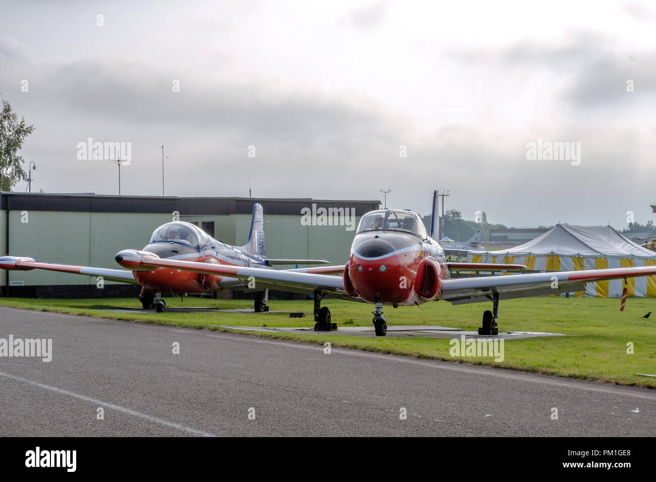COSFORD, UK, JUNE 6 2018: A photograph documenting a pair of BAC Jet Provosts as they stand at RAF Cosford - Stock Image