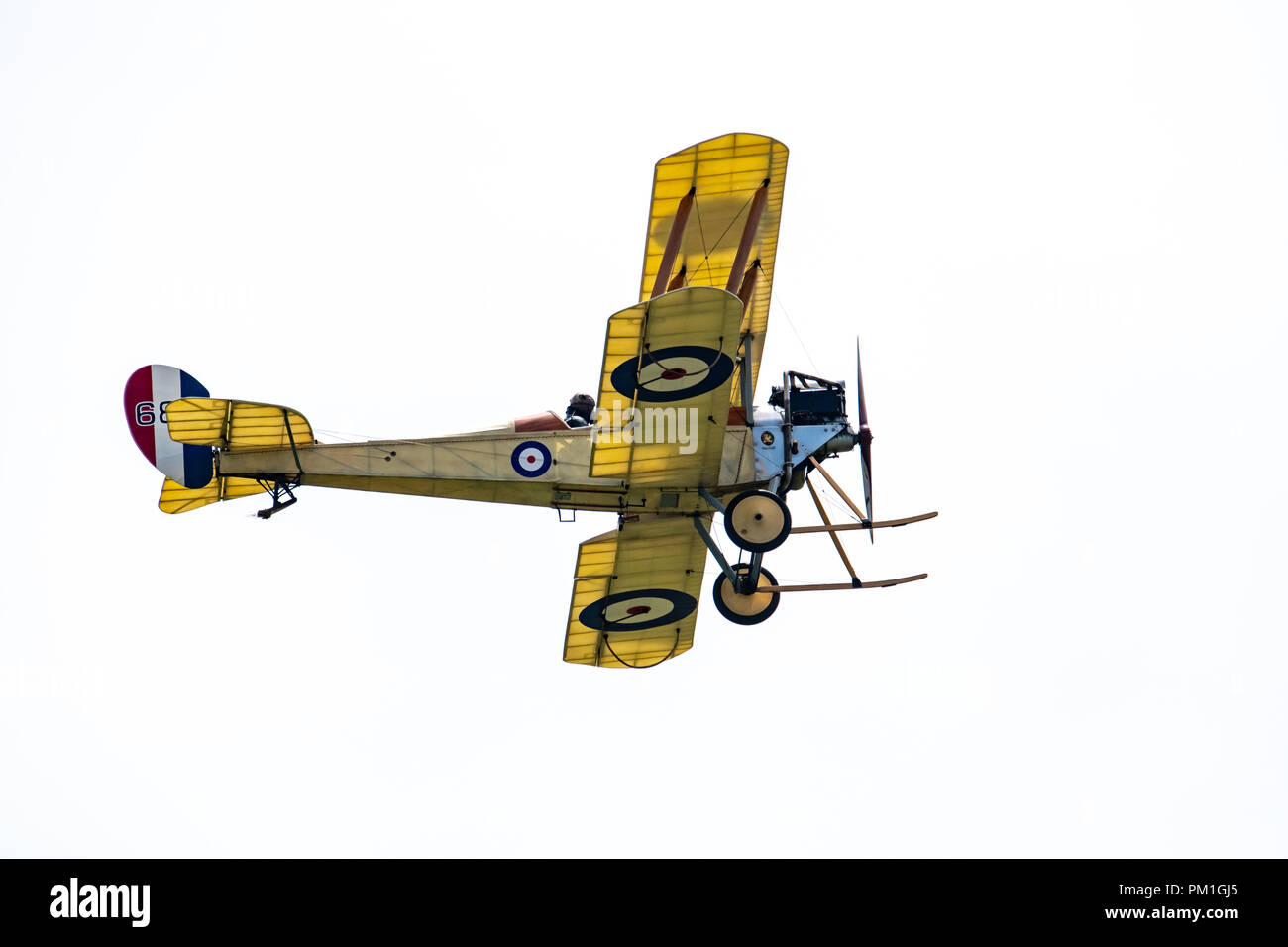 TELFORD, UK, JUNE 10, 2018 - A photograph documenting a replica Royal Aircraft Factory BE2c WWI Scout and fighter aircraft at RAF Cosford as part of t - Stock Image