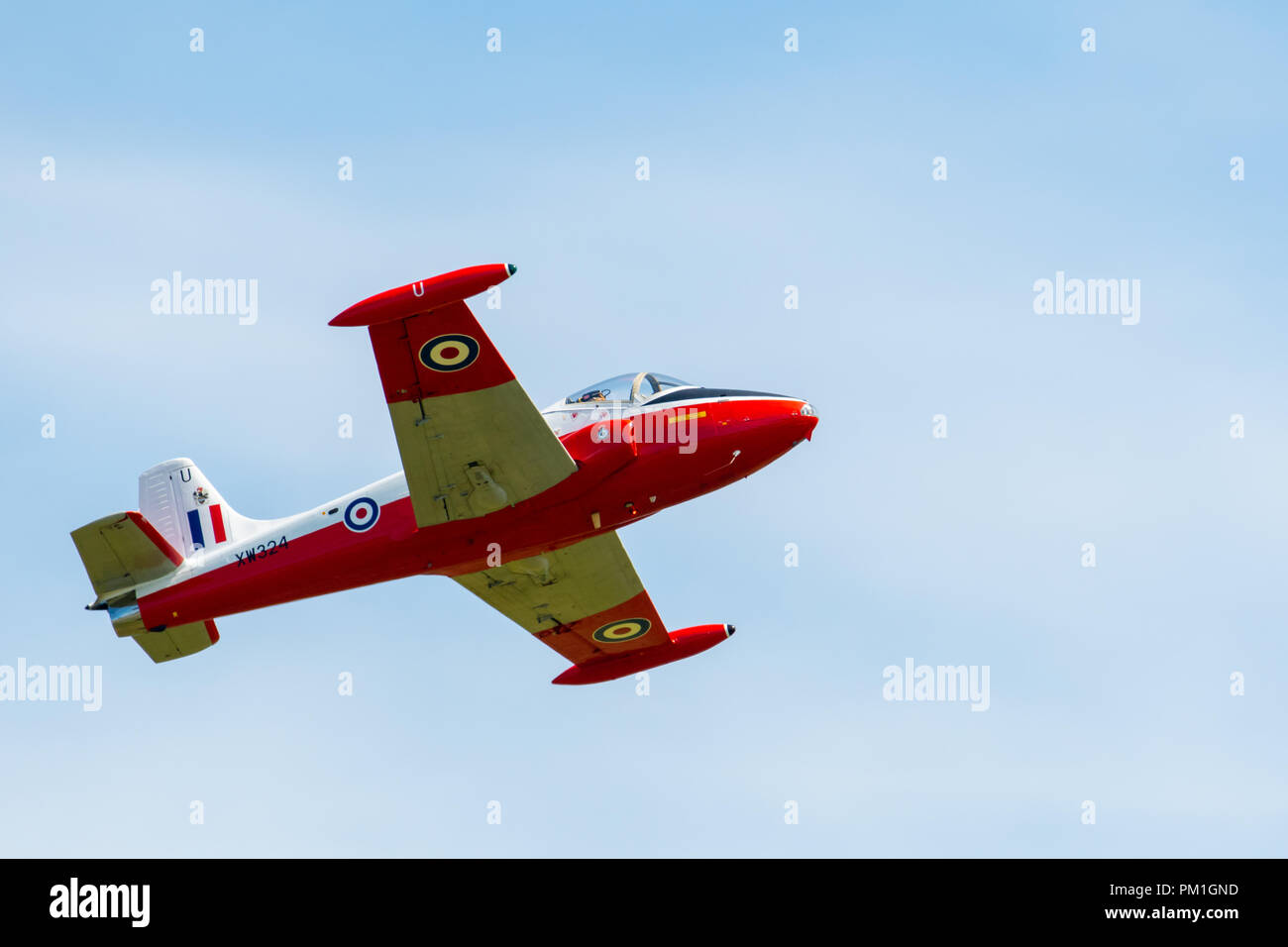 TELFORD, UK, JUNE 10, 2018 - A photograph documenting a 1950s era BAC Jet Provost training aircraft display at RAF Cosford Air Show for the RAF 100 Ce - Stock Image