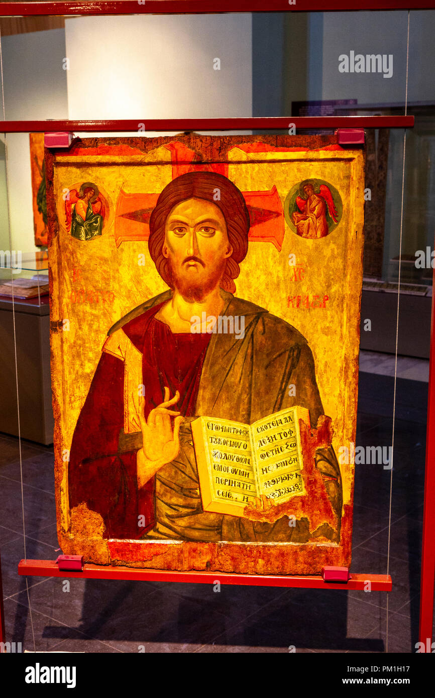 'Christ Pantokrator', a 13th century, Greek Tempera and gold on canvas over wooden panel on display in the National Museum of History, Sofia, Bulgaria - Stock Image