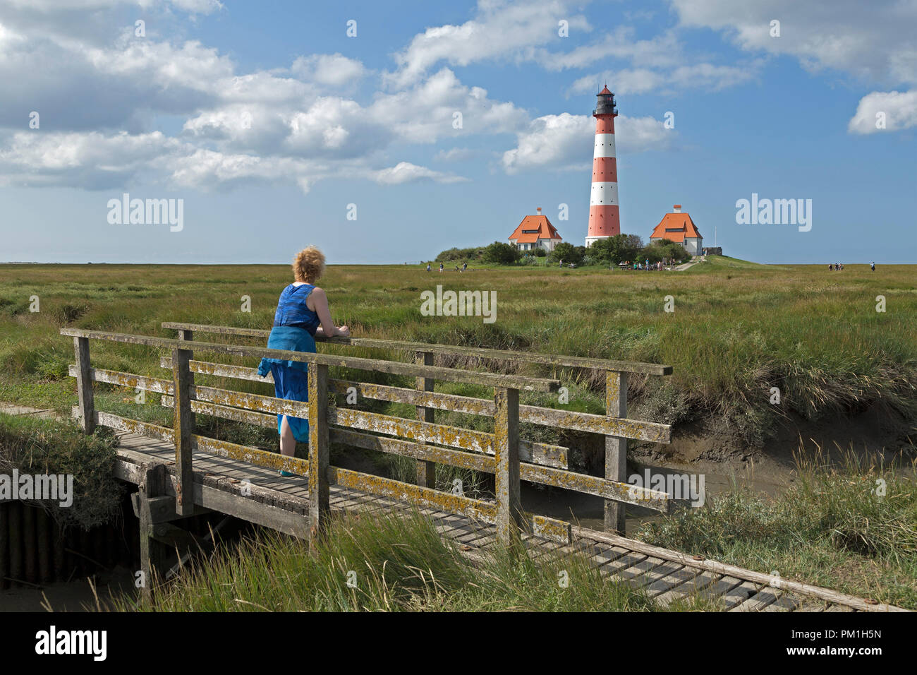Lighthouse Westerhever, Schleswig-Holstein, Germany - Stock Image