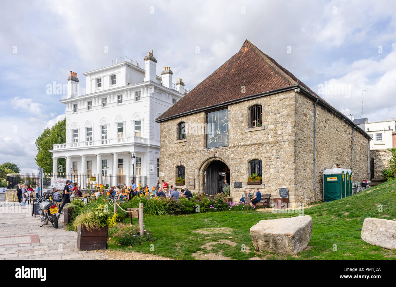 The historic Wool House converted to a craft beer brewery called Dancing Man located in the Old Town of Southampton along Town Quay 2018, England,UK - Stock Image
