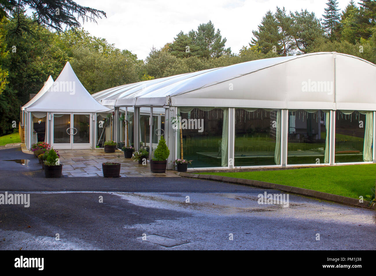 The large canvas marquee at Beech Hill Country House Hotel in Londonderry northern Ireland. Used for events such as wedding receptions etc. - Stock Image