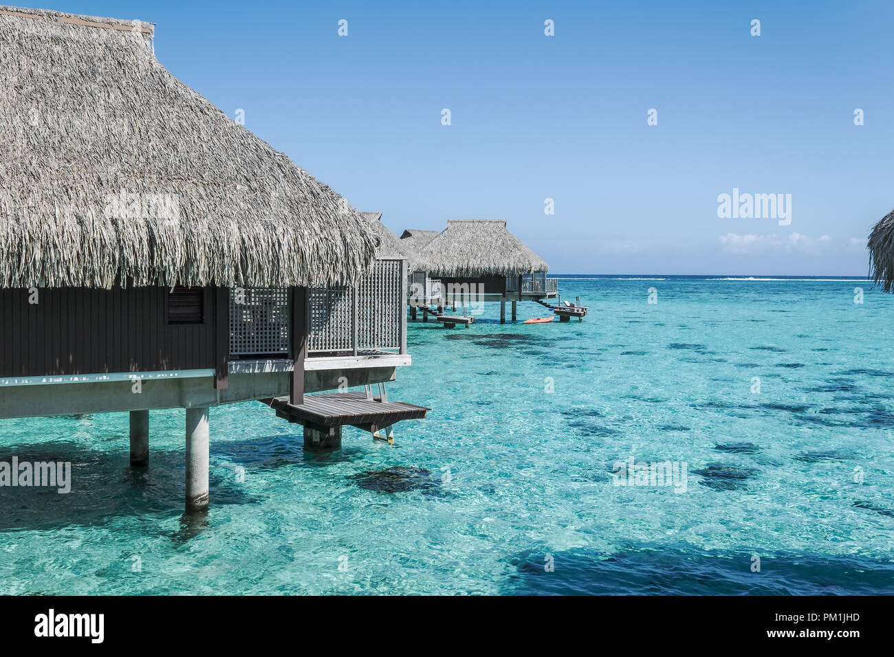 Over water bungalow in Moorea, French Polynesia - Stock Image